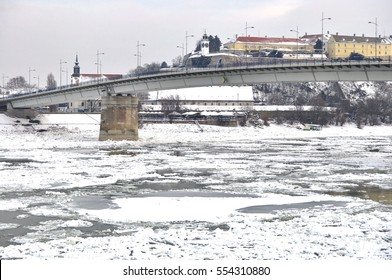 Frozen Danube in Novi Sad, Serbia