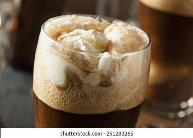 Frozen Dark Stout Beer Float with Ice Cream