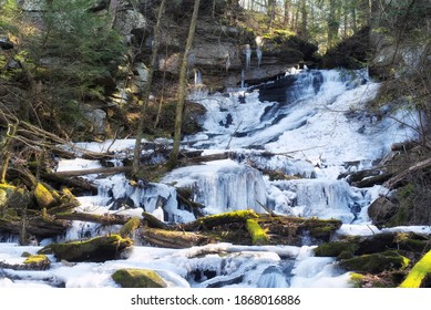 The frozen deans ravine waterfall in falls village on the mohawk trail in Connecticut on a winter day.