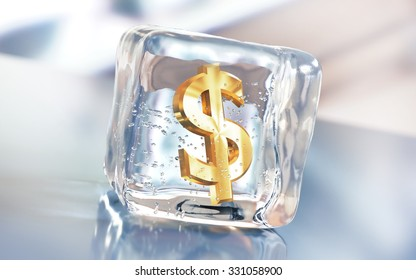 Frozen dollar symbol in an ice cube. Debt postpone or freezing investments creative illustration.