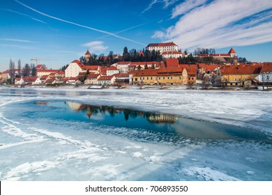 Frozen Drava river at town of Ptuj, Slovenia.