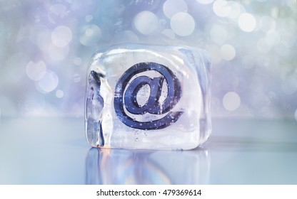 Frozen e-mail symbol. Creative 3D illustration for preserving data, saving data, preventing e-mail leakage, password protection and similar. Front view with space on the left and right side.