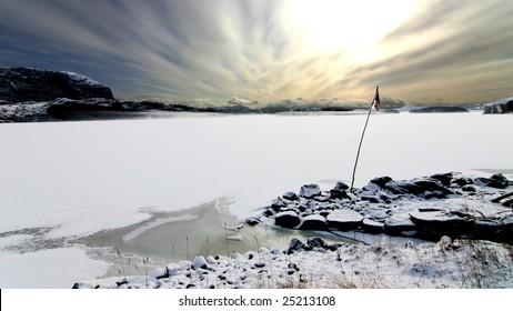 Frozen fjord in Southern Norway between Stavanger and Bergen