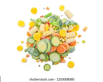 Frozen food isolated on white background