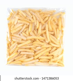 Frozen french fries in plastic bag, clipping path.