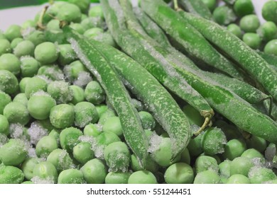 frozen green peas with asparagus close