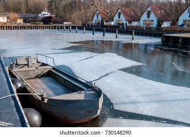 Frozen harbor on Usedom/Germany