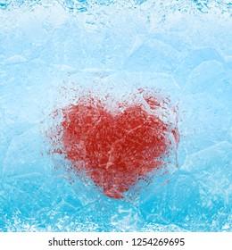 Frozen heart in blue white ice
