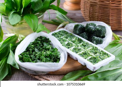 Frozen Herbs on a wooden table