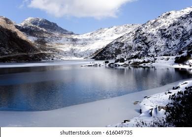 A frozen Himalayan lake, on the way to Nathula Pass in India-China Border.