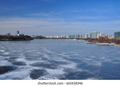 Frozen Hosu lake, located at Ilsan in Korea, taken at minus 20 degrees, coldest day in winter season.