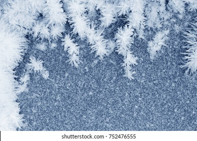 Frozen ice crystals on the ground for backgrounds or textures