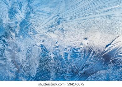 Frozen ice pattern on glass