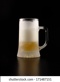 Frozen jug with beer on a black background