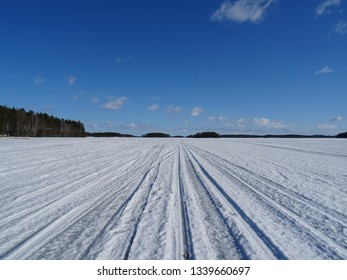 Frozen Kalavesi Lake, Kuopio, Finland. March 2016