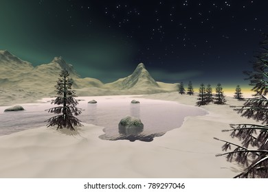 Frozen lake, 3D rendering, a polar landscape, snowy trees, stars and aurora in the sky.