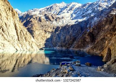 Frozen lake among the peaks near the China border