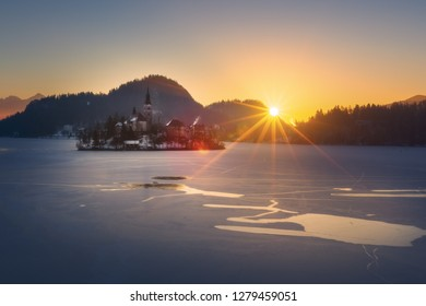 Frozen Lake Bled on a cold sunny winter morning