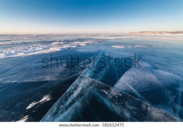 frozen lake with clear pure ice
