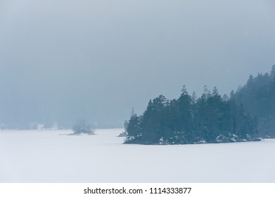 Frozen lake in gog with dense forest on banks, and tiny island with hut and jetty