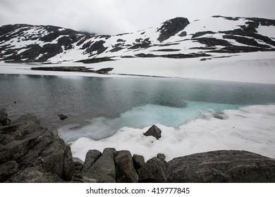Frozen lake in  Grotli near Stryn Norway