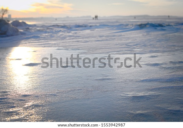 Frozen lake in the middle of winter