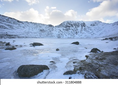 frozen lake overlooking mountain range at sunset, helvellyn, cumbria