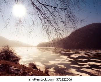 Frozen lake - Paltinu accumulation lake. Romania