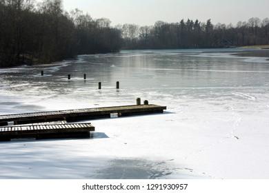 Frozen lake at park Hulsbeek, Oldenzaal.