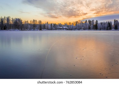 Frozen lake from Sotkamo, Finland.
