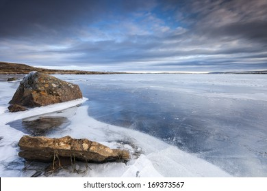Frozen lake in South Iceland.Close to Reykjavik city/Frozen Lake