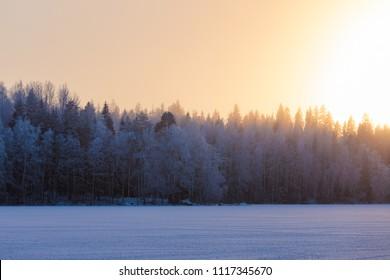 Frozen lake sunset nature landscape