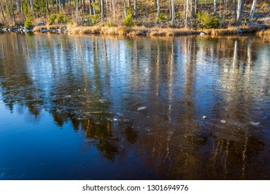 Frozen lake surface and thins ice nature scene