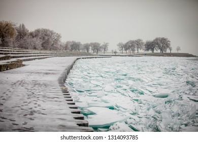 Frozen lake  in winter. Winter in Chicago