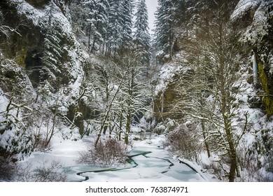 Frozen landscape in the Columbia River Gorge, Oregon