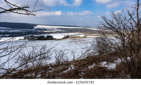 Frozen landscape of the country and hills