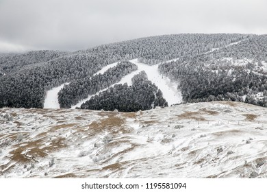 Frozen landscape Valdelinares mountains in winter Teruel Aragon Spain