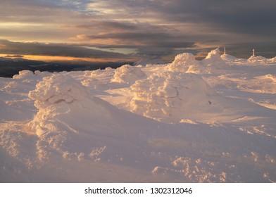 Frozen landscape in winter Carpathians. Syniak Mountain, Gorgany