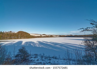 A frozen Loch Clunie on the outskirts of the Market Town of Blairgowrie, near the village of Forneth on one  Winters evening in January.