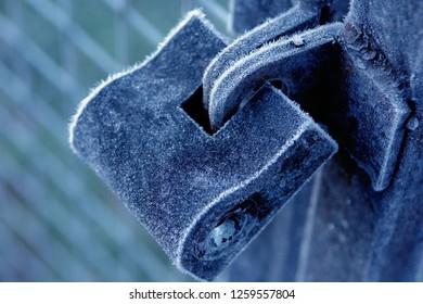 frozen lock on door. frozen padlock. so cold and metal freeze - Image