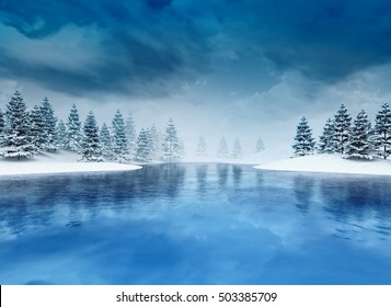 frozen lough with trees and cloudy sky, winter season lake scenery 3D illustration