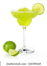 frozen margarita garnished with lime isolated on white