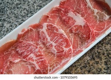 Frozen meat in foam package, Top view