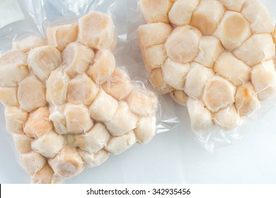 frozen meat scallop shells in the package sea scallop