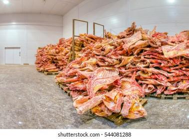 Frozen meat stored