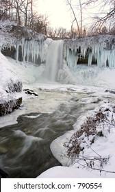 Frozen Minnehaha Falls, Minneapolis, Minnesota shrouded in mist