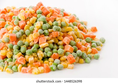 frozen mixed vegetable on white background