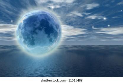 frozen moon over the ocean