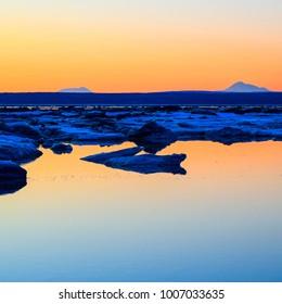 frozen ocean sunset