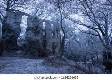 Frozen Pajstun castle walls, Borinka, Slovakia